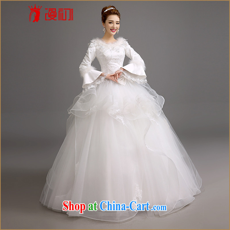 Early spread in winter, marriages wedding dresses Korean video thin thick wedding thick warm long-sleeved shaggy dress wedding white XXL code