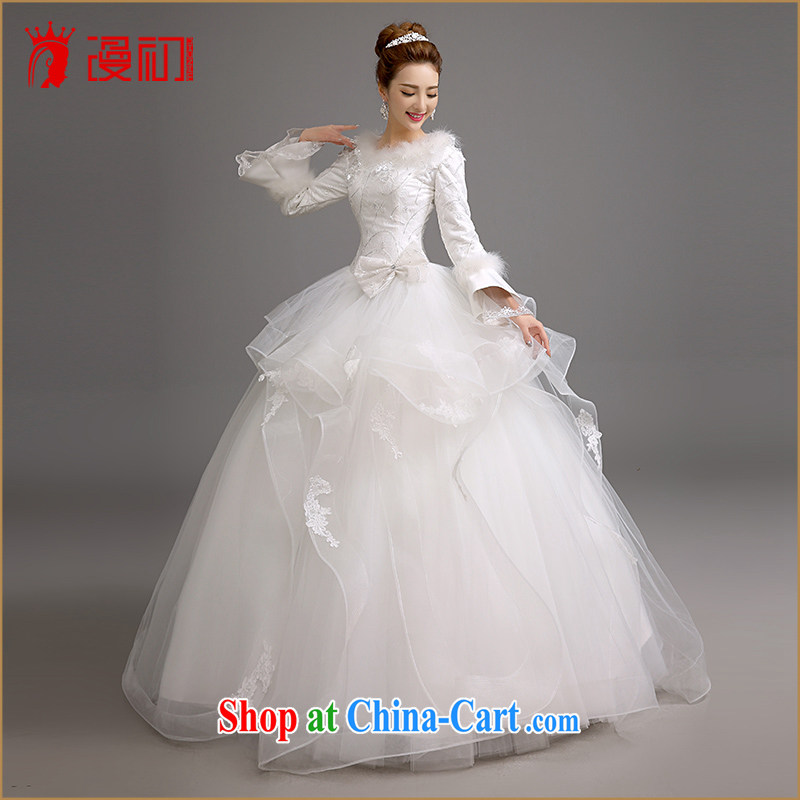 Early spread in winter, marriages wedding dresses Korean video thin thick wedding thick warm long-sleeved shaggy dress wedding white XXL, diffuse, and shopping on the Internet