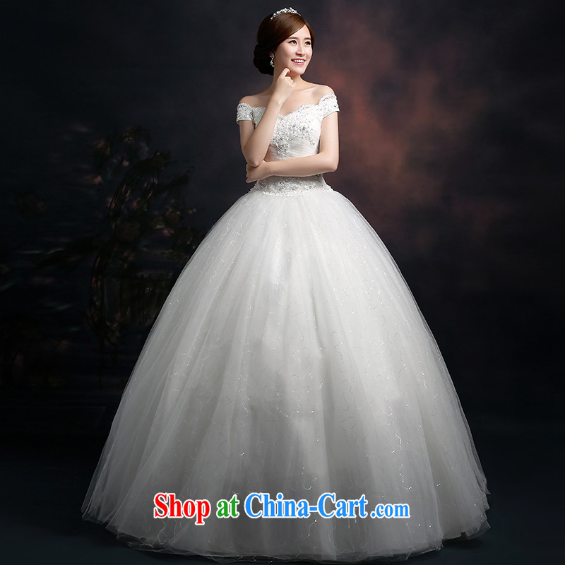 New 2015 winter bridal wedding dresses and stylish Korean version field shoulder bag shoulder bridal with strap beauty graphics thin wedding dresses white L