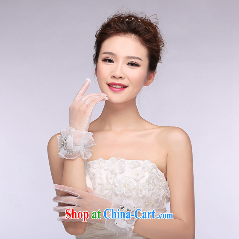 Hi Ka-hi 2014 new bridal gloves white lace short parquet drill butterfly wedding dresses gloves NS 02 ivory are code
