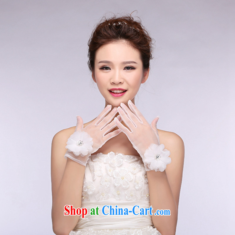 Hi Ka-hi 2014 new bridal gloves white lace short parquet drill flowers wedding gloves NS 03 ivory are code
