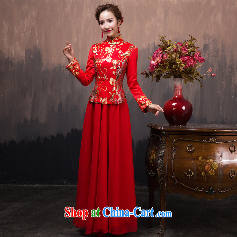 Red long dress 2015 new Winter load marriages served toast retro improved long-sleeved dresses winter clothing XS pieced