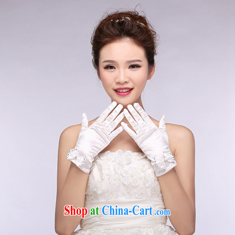 Hi Ka-hi 2014 new bridal gloves white satin short parquet drill butterfly wedding dresses gloves NS 04 ivory are code