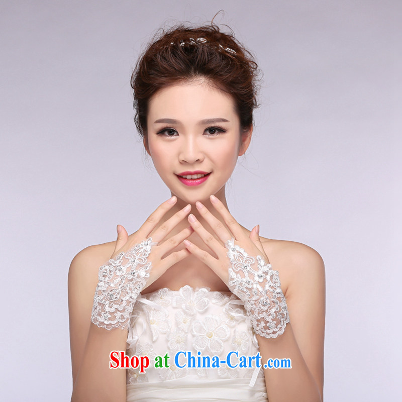 Hi Ka-hi 2014 new bridal gloves white lace short strap wedding missed the gloves NS 06 ivory are code