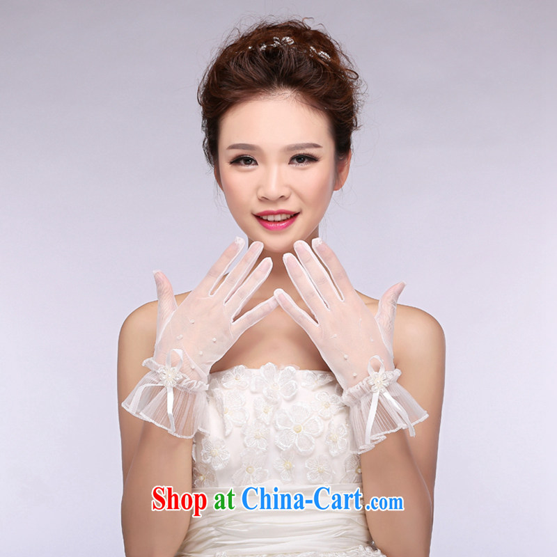 Hi Ka-hi 2014 new bridal gloves white lace short hem 100 Pearl wedding gloves NS 07 ivory are code
