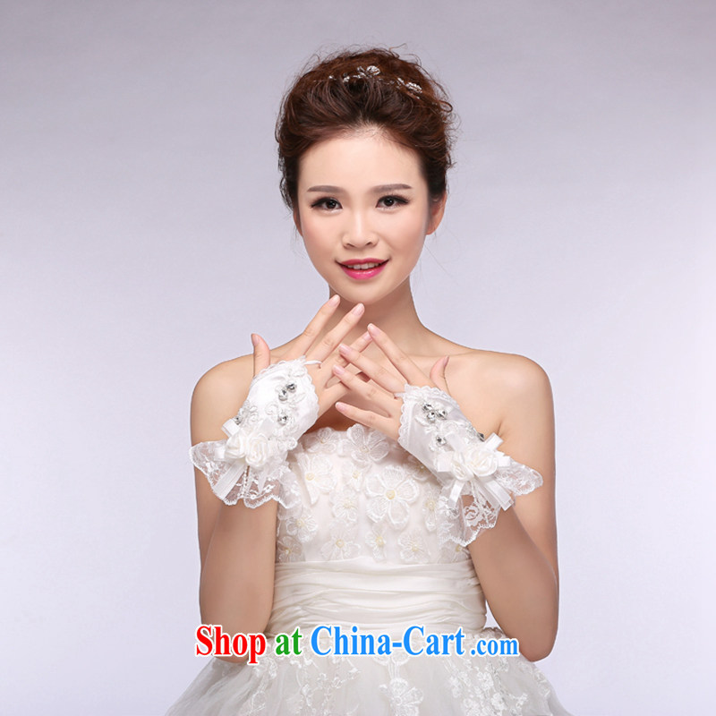 Hi Ka-hi 2014 new bridal gloves white lace short, three-dimensional flower wedding leak mittens NS 08 ivory are code