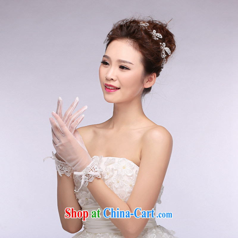 Hi Ka-hi 2014 new short, bridal gloves white lace lace strap wedding gloves NS 09 ivory are code