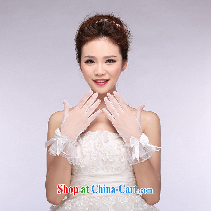 Hi Ka-hi 2014 new bridal gloves white lace short butterfly wedding dresses gloves NS 10 ivory are code