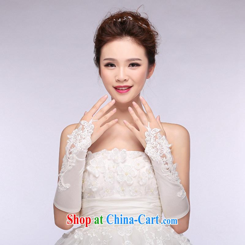 Hi Ka-hi 2014 new bridal gloves white lace long Satin missed the wedding gloves NS 17 ivory are code