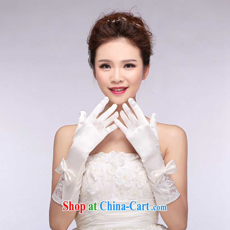 Hi Ka-hi 2014 new bridal gloves white lace long Satin butterfly wedding dresses gloves NS 18 ivory are code