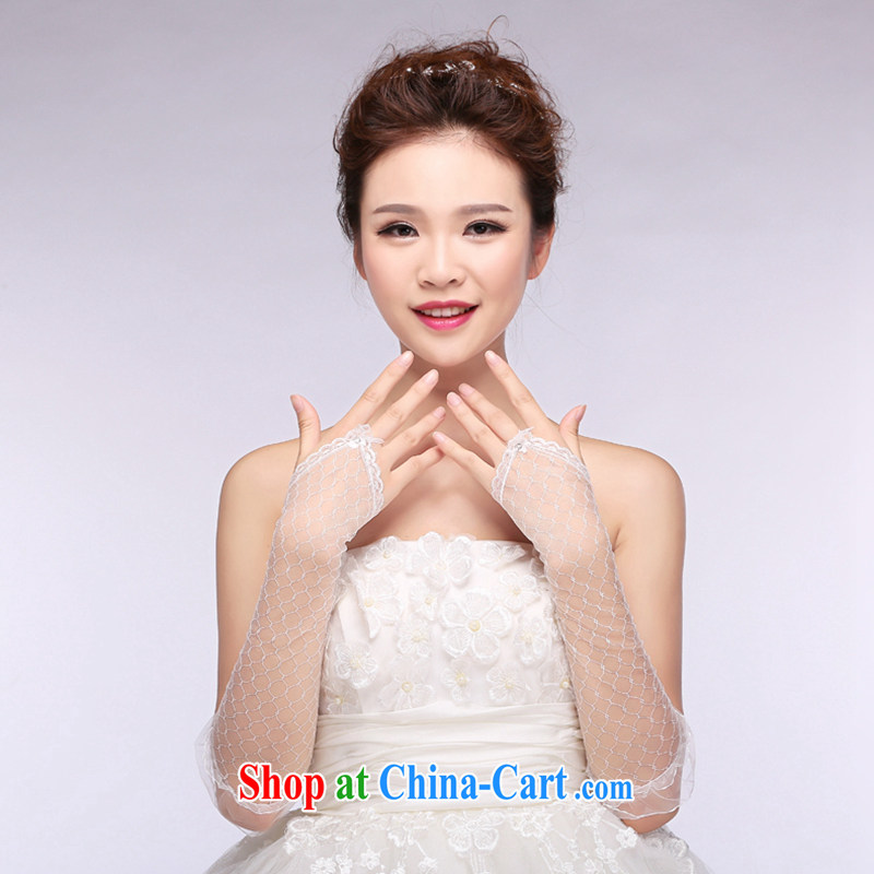 Hi Ka-hi 2014 new bridal gloves white lace lace long missed the wedding gloves NS 19 ivory are code