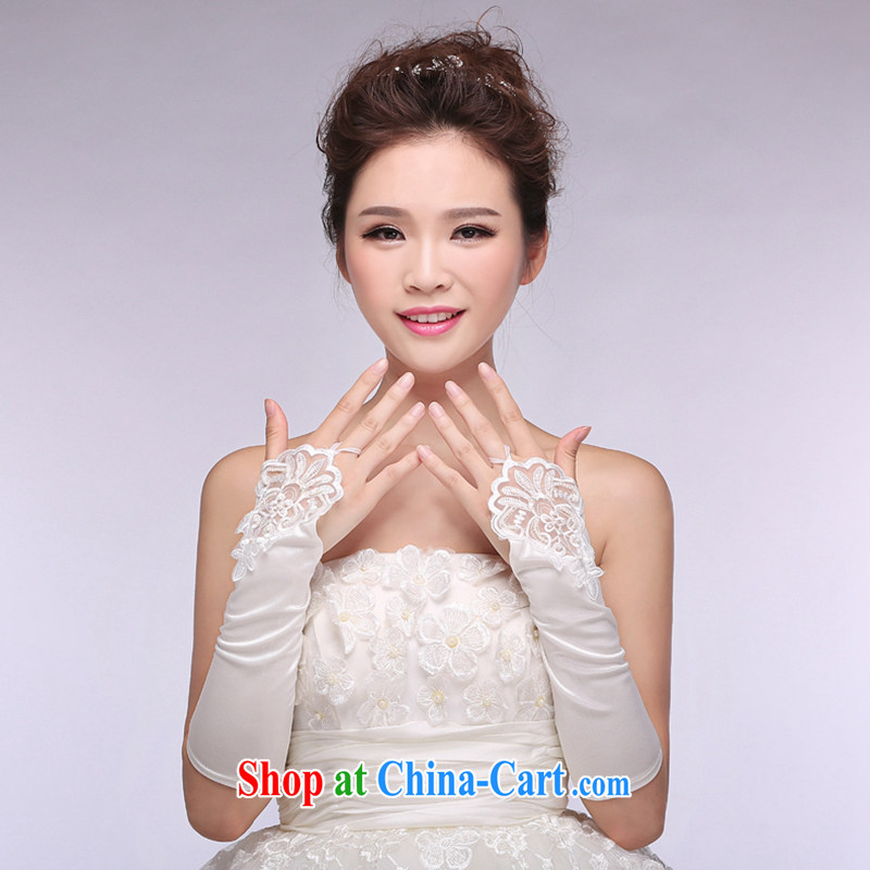 Hi Ka-hi 2014 new bridal gloves white lace long Satin missed the wedding gloves NS 20 ivory are code