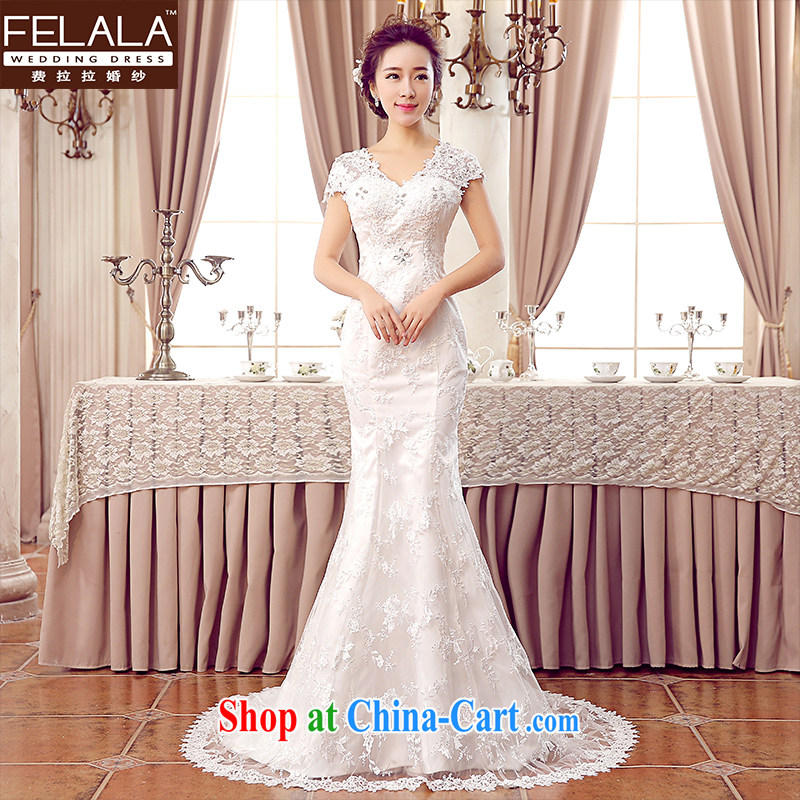 Ferrara Korean-style wedding dresses tail wedding dress wedding winter bridal crowsfoot wedding women 2015 wedding new tie-wedding-tail XL (2 feet 2)