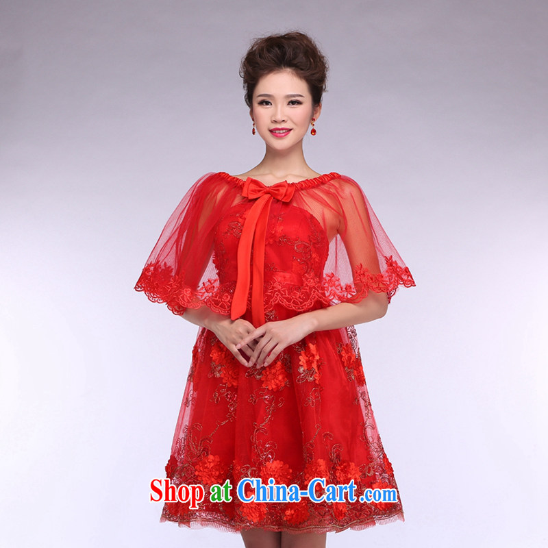 Hi Ka-hi 2014 New Red bridal shawl thin lace cloak wedding dresses with jewelry NJ 01 red are code