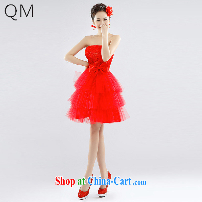 Shallow end _QM_ Water-soluble lace small wedding dresses bridesmaid dresses bridal wedding wedding CTX LF 1002 red XXL