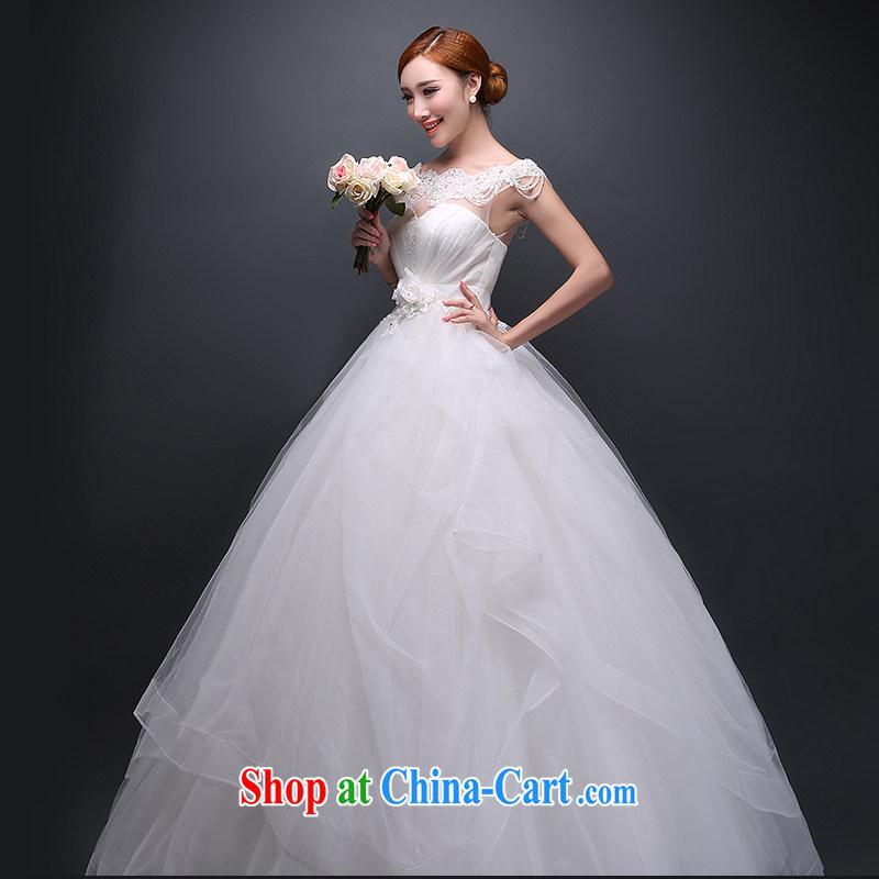 Hi Ka-hi 2014 new stylish wedding dresses Korean version the Field shoulder bridal winter, the code wedding dresses with straps autumn and winter ivory XS