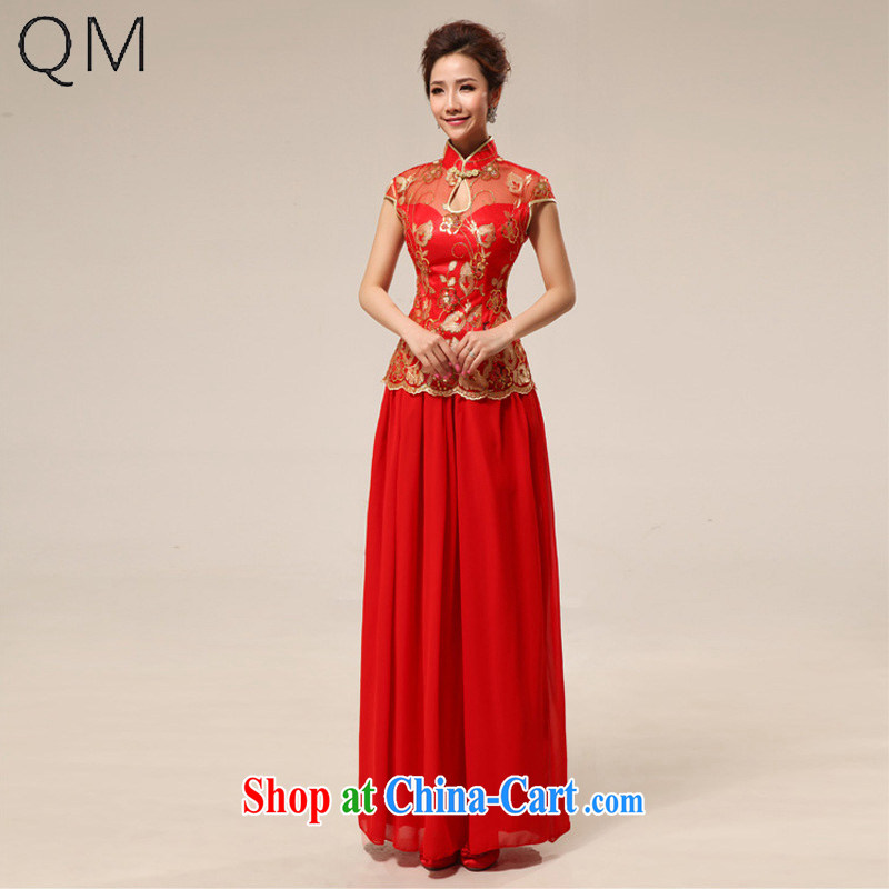 Shallow end (QM) Marriages retro lace improved, Long Red transparent lace cheongsam CTX QP 68 red XXL