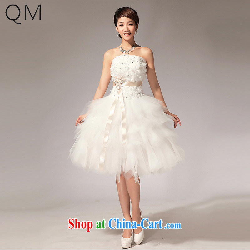 Light _at the end_ QM bride wiped chest wedding flowers knee sister bridesmaid dresses small short skirts CTX LF 112m White XXL