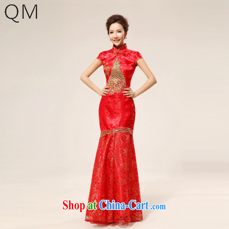 Shallow end (QM) bridal dresses wedding dresses retro long, seamless, Phoenix cheongsam CTX red XXL