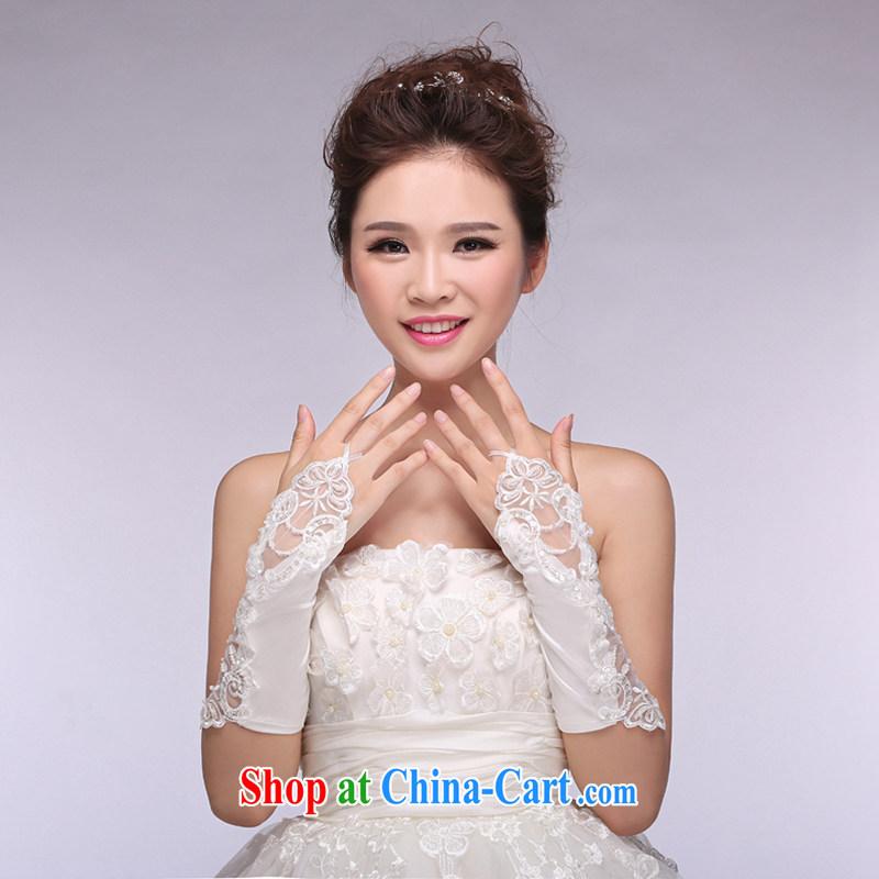 Hi Ka-hi 2014 new bridal gloves white lace long Satin missed the wedding gloves NS 21 ivory are code