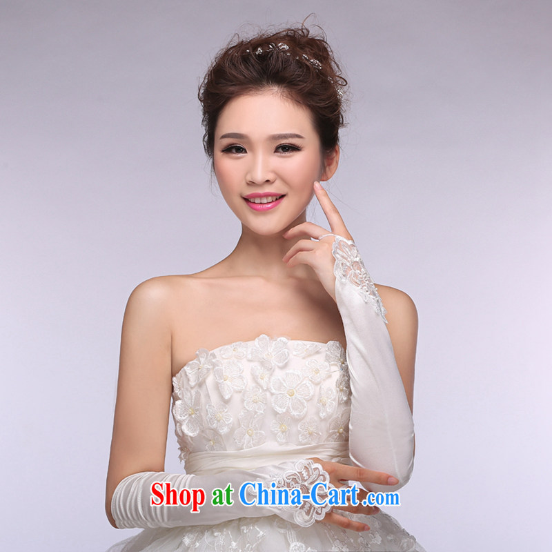 Hi Ka-hi 2014 new bridal gloves white lace long Satin missed the wedding gloves NS 22 ivory are code