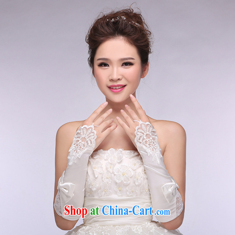 Hi Ka-hi 2014 new bridal gloves white lace long Satin missed the wedding gloves NS 23 ivory are code