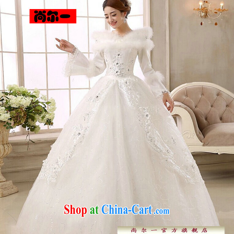 Still, 12,014 new bridal wedding dresses Korean version with winter clothes wedding long-sleeved sweet the cotton wedding CS 6149 white XXL