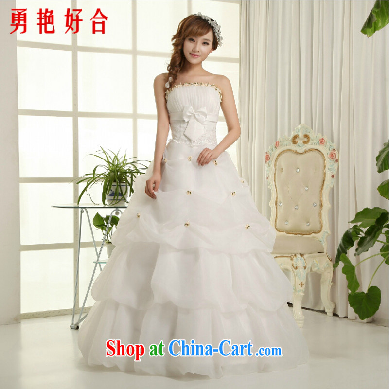 Yong-yan and 2015 new wedding dresses wedding bridal marriage wedding white Korean version wiped his chest to Princess Margaret van wedding has now been upgraded with straps, white with L
