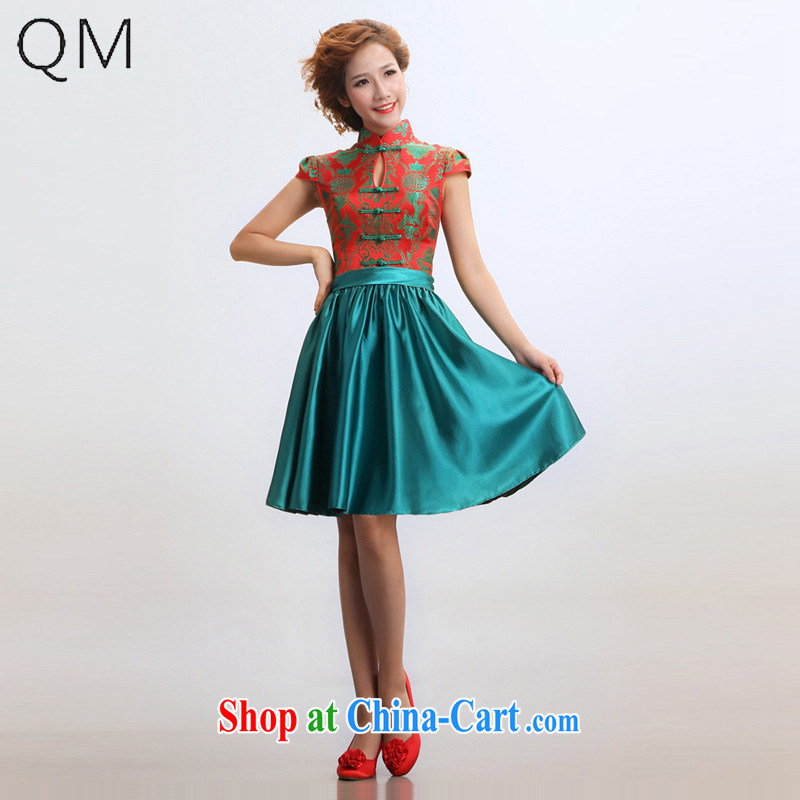 Shallow end _QM_ short cheongsam improved summer marriages wedding dresses qipao CTX red XXL