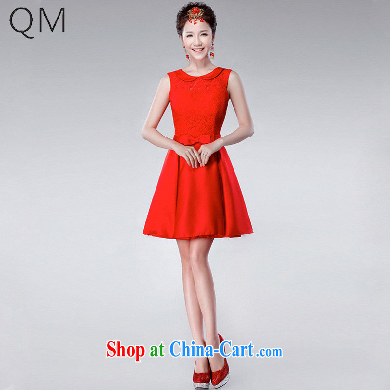 Shallow end _QM_ Wedding toast serving double-shoulder-small dress short, the wedding dress CTX LF 175 red XXL