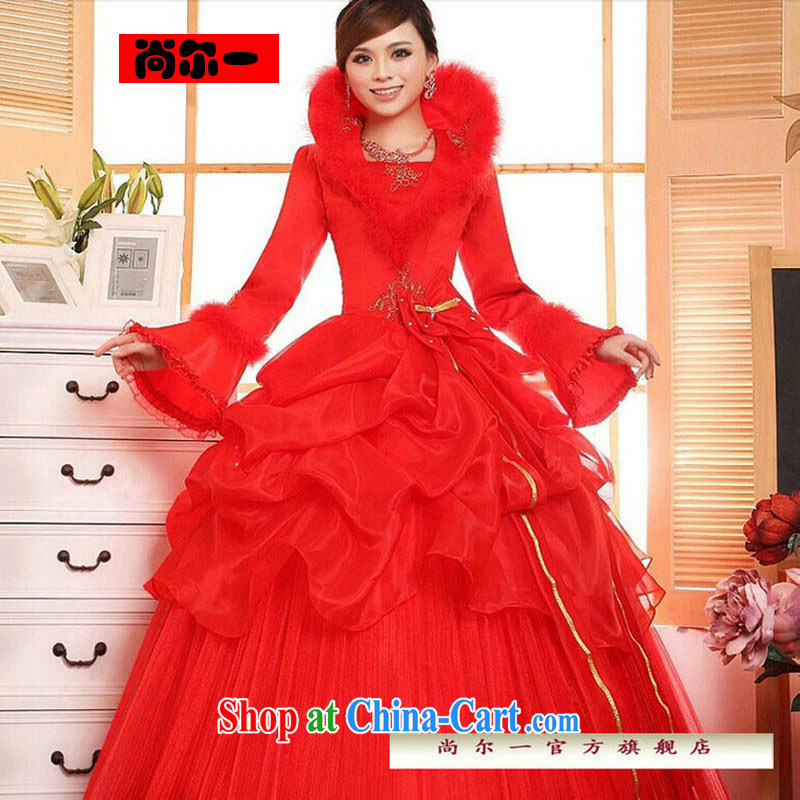 It's a 2014 new bridal wedding dresses Korean version with winter wedding long-sleeved sweet the cotton wedding JS 3189 red XXL