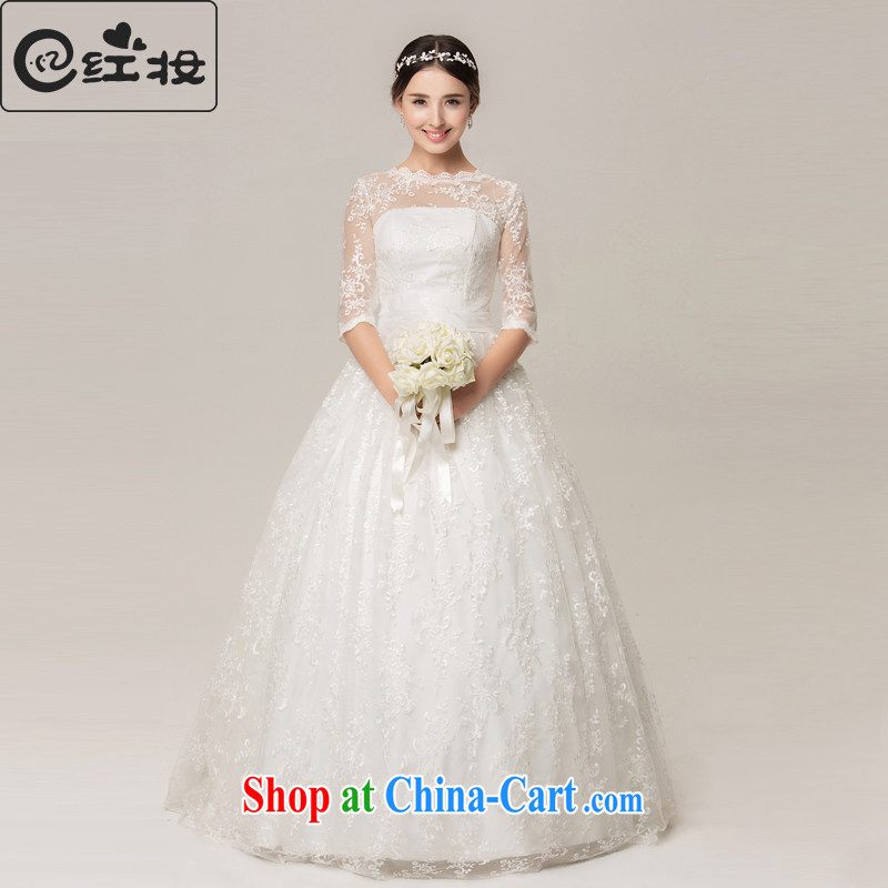 Recall that the red makeup lace 7 cuff summer marriages with stylish aura A swing wedding dresses new H 15,061 white XL _buy the fine furnishings + 3 piece_