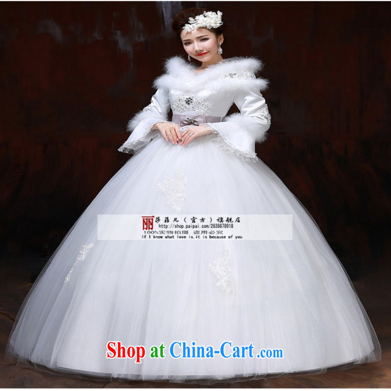 2014 new bride winter thick wedding winter, long-sleeved wedding winter field shoulder strap large code thick MM video thin client for this size will not be returned.