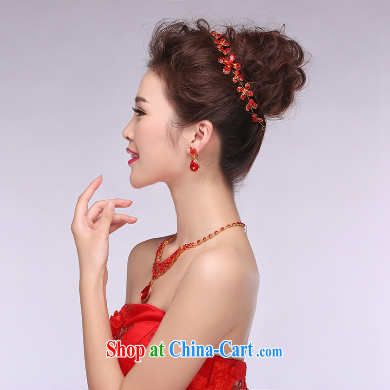 Hi Ka-hi 2014 new marriages jewelry Crown necklace earrings Kit water drilling wedding accessories TJ 01 red are code