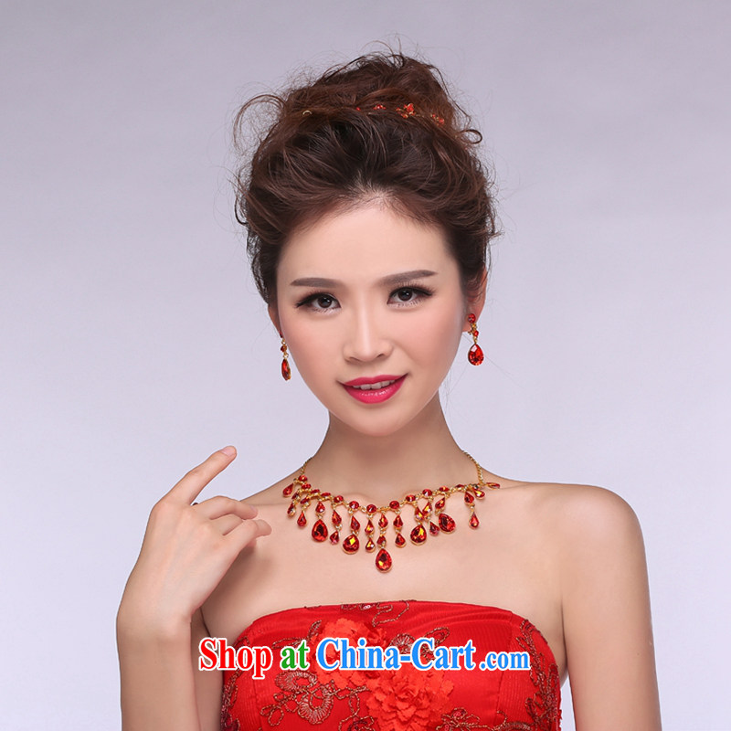 Hi Ka-hi 2014 new marriages jewelry Crown necklace earrings Kit water drilling wedding accessories TJ 06 red are code