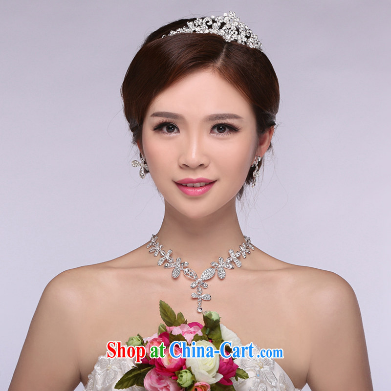 Hi Ka-hi 2014 new marriages jewelry Crown necklace earrings Kit water drilling wedding accessories TJ 08 white are code