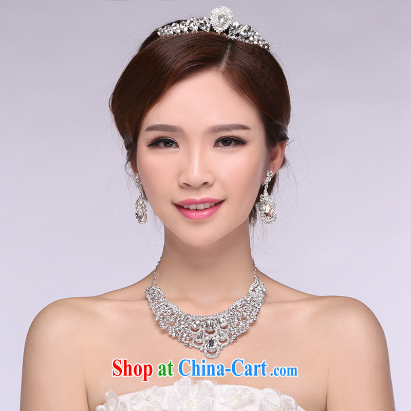 Hi Ka-hi 2014 new marriages jewelry Crown necklace earrings Kit water drilling wedding accessories TJ 13 white are code