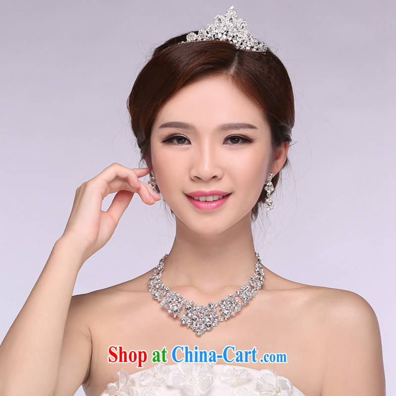 Hi Ka-hi 2014 new marriages jewelry Crown necklace earrings Kit water drilling wedding accessories TJ 14 white are code
