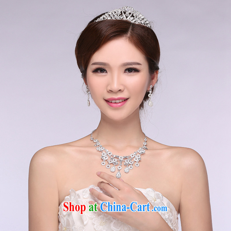 Hi Ka-hi 2014 new marriages jewelry Crown necklace earrings Kit water drilling wedding accessories TJ 17 white are code