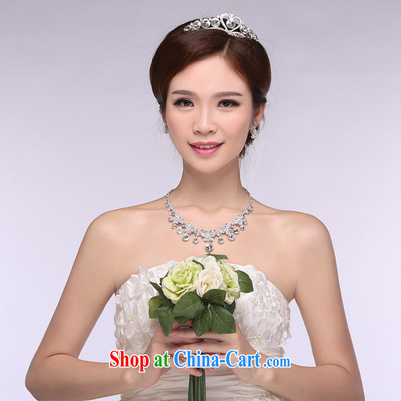 Hi Ka-hi 2014 new marriages jewelry Crown necklace earrings Kit water drilling wedding accessories TJ 21 white are code
