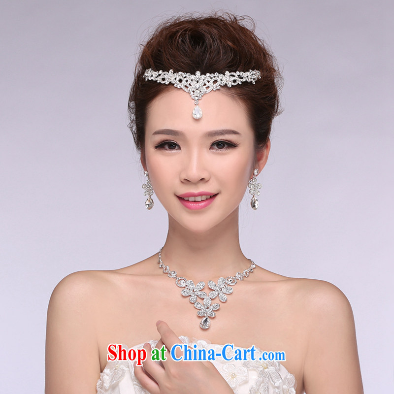 Hi Ka-hi 2014 new marriages jewelry Crown necklace earrings Kit water drilling wedding accessories TJ 22 white are code