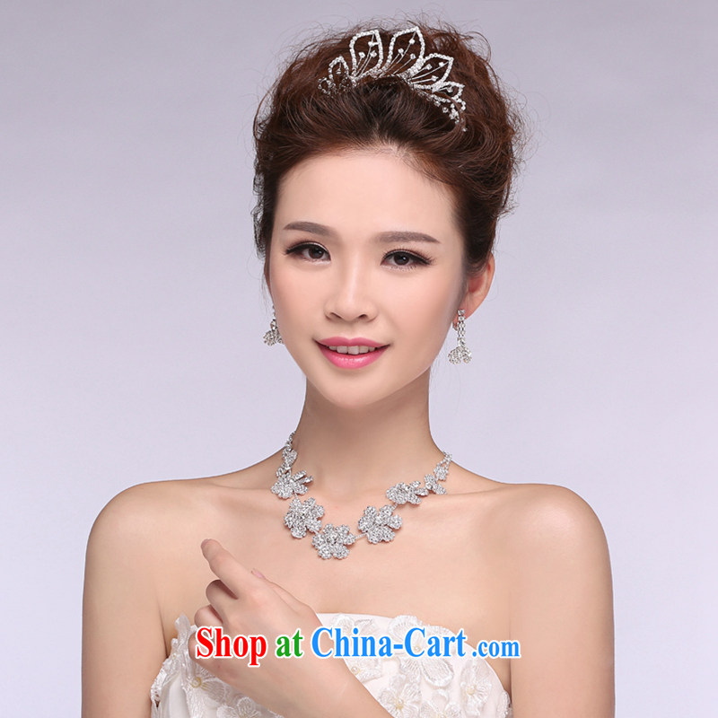 Hi Ka-hi 2014 new marriages jewelry Crown necklace earrings Kit water drilling wedding accessories TJ 23 white are code