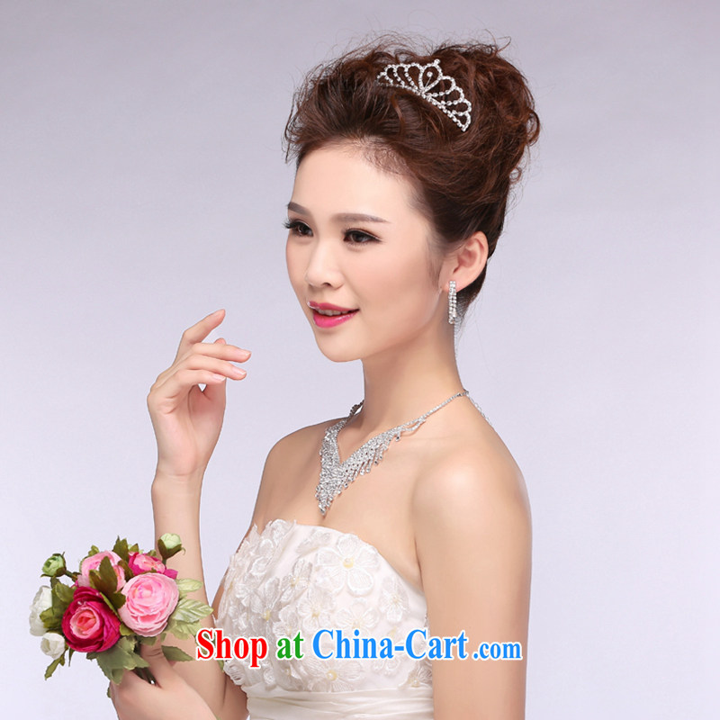Hi Ka-hi 2014 new marriages jewelry Crown necklace earrings Kit water drilling wedding accessories TJ 28 white are code