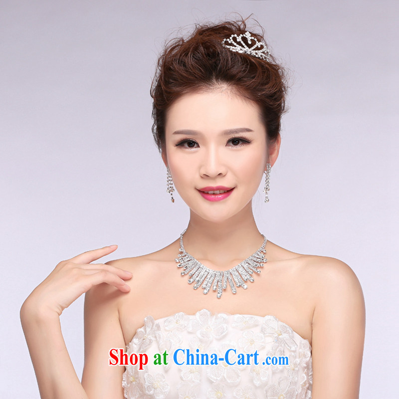 Hi Ka-hi 2014 new marriages jewelry Crown necklace earrings Kit water drilling wedding accessories TJ 29 white are code