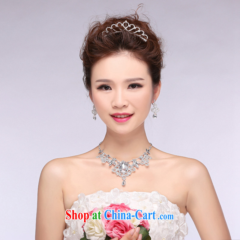 Hi Ka-hi 2014 new marriages jewelry Crown necklace earrings Kit water drilling wedding accessories TJ 30 white are code