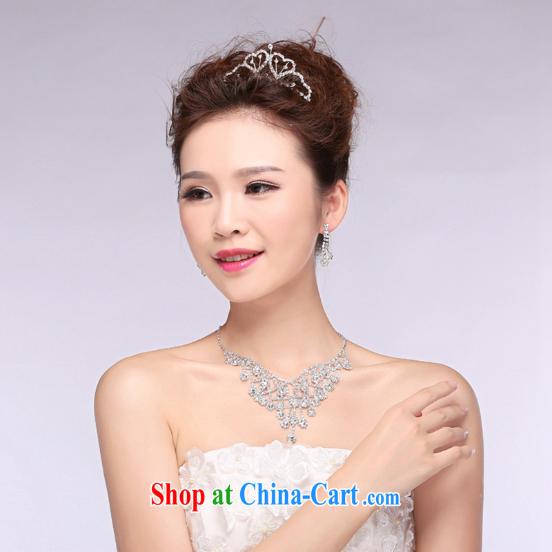 Hi Ka-hi 2014 new marriages jewelry Crown necklace earrings Kit water drilling wedding accessories TJ 31 white are code