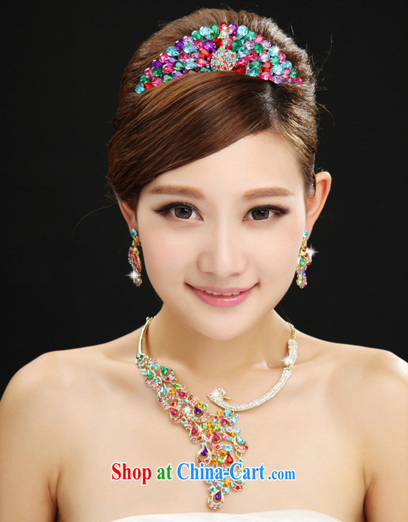 100 Ka-ming, new color Peacock Phoenix shining diamond jewelry bridal wedding jewelry, Crown 3-piece kit mix