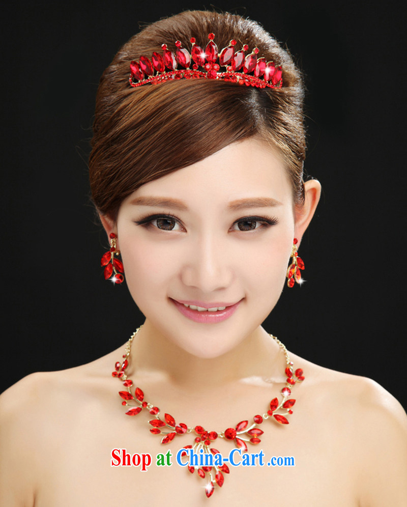 100 Ka-ming, new bridal Crown necklace jewelry red head-dress wedding dresses accessories hair accessories 3-Piece red