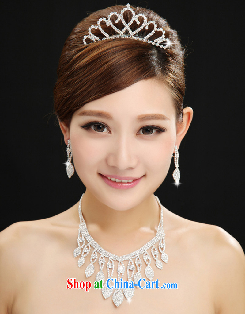 Korean-style water drilling bridal jewelry and ornaments Crown necklace earrings 3 piece wedding wedding jewelry wedding accessories white