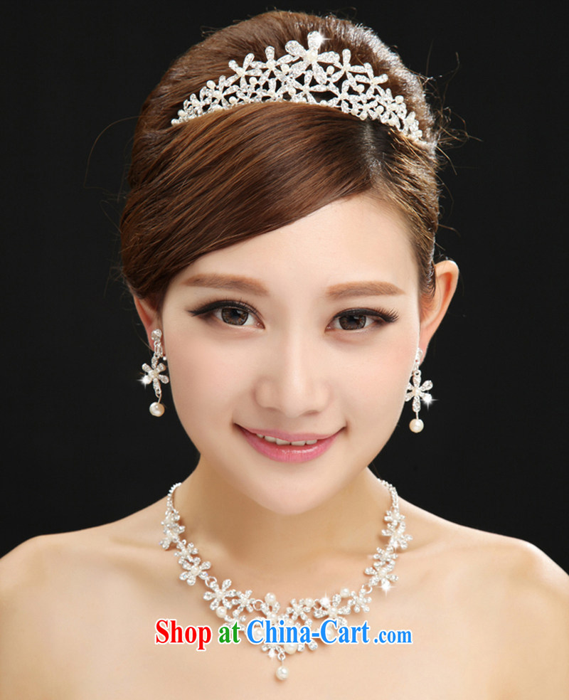 100 Ka-ming, bridal jewelry Korean-style 3 piece wedding dresses with the Crown and ornaments necklaces earrings hair accessories white